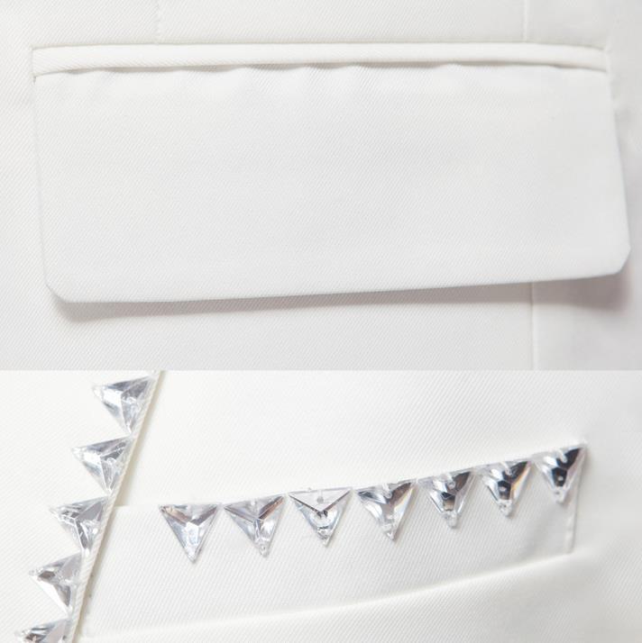 Bianco coreano diamante sposato set abito formale abiti da uomo matrimonio sposo vestito degli uomini ultime coat pant designs abiti da uomo + pant + ti - 5
