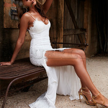 CUERLY Backless Strapless Sexy Lace Dress Elegant 2019 Summer High Split White Women Maxi Long