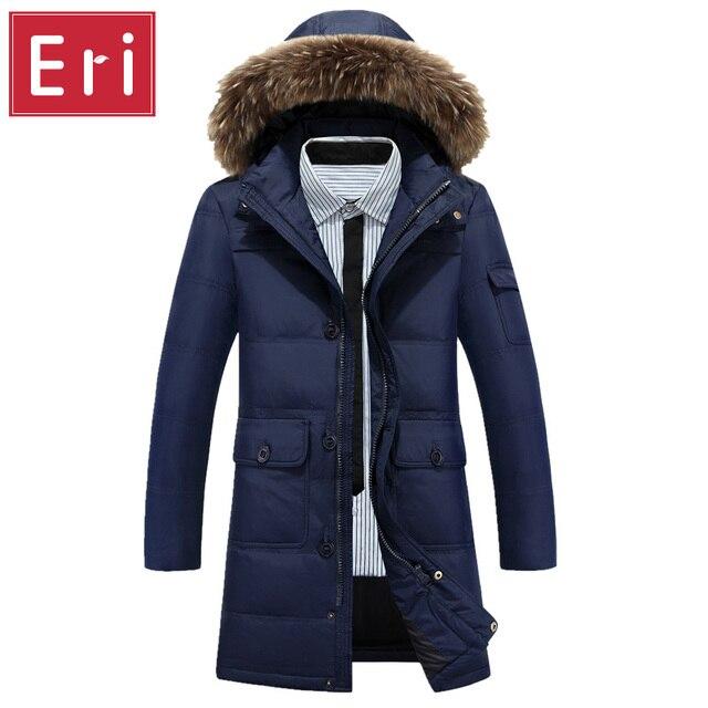 Casacos de inverno Para Baixo Com Capuz De Pele Homens Casual Duck Down Coats & jaquetas Parkas Engrosse Exteriores Longo Estilo Sólido Plus Size 4XL X427