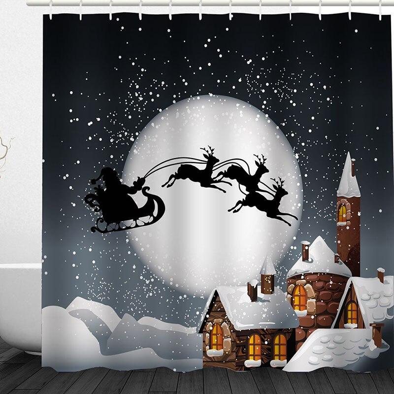 Polyester Duschvorhang Weihnachten Santa thema Claus Bad-accessoires ...