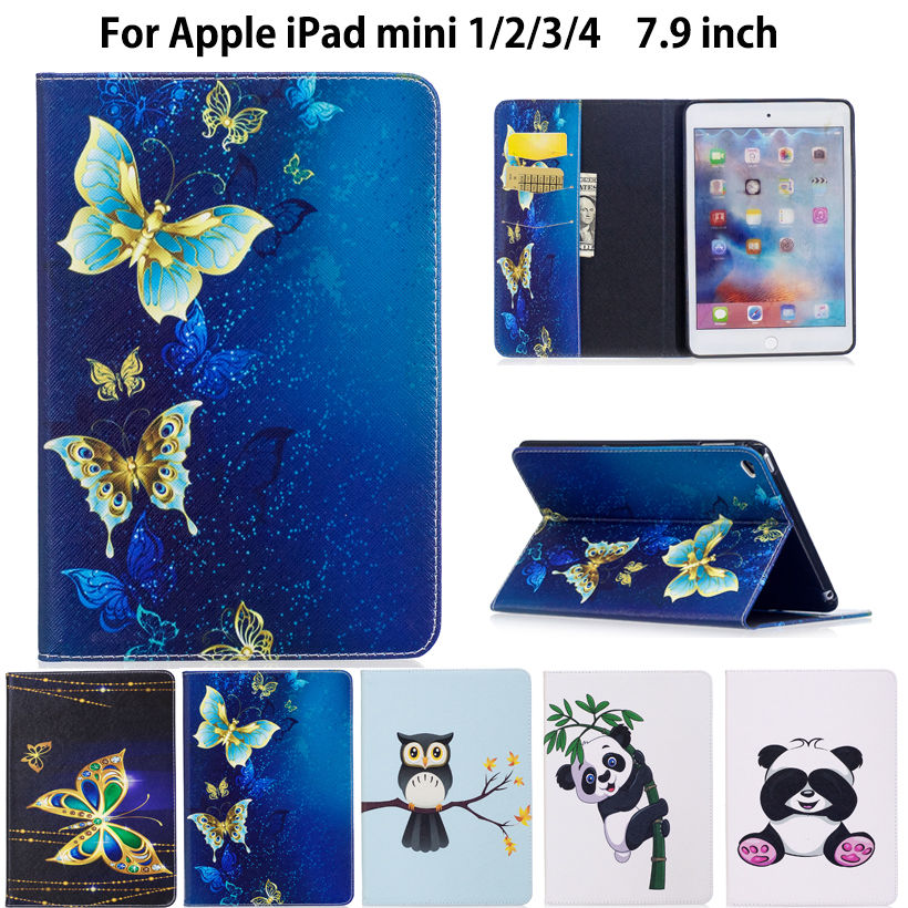 Fashion Panda Owl Pattern Case For Apple iPad Mini 1 2 3 4 Cover Smart Case Funda Tablet Silicone PU Leather Stand Shell Capa cartoon painted flower owl for kindle paperwhite 1 2 3 case flip bracket stand pu cover for amazon kindle paperwhite 1 2 3 case