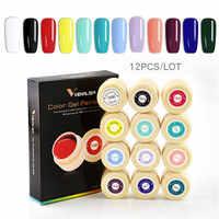 12PCS Venalisa nail art products 5ml LED UV Nail Art Gel Paint UV Nail Polish Gel Varnish Lacquer Painting Nail Design Gel Kit