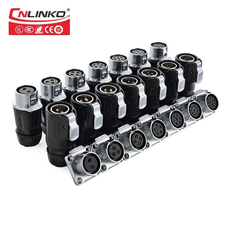 CNLINKO LP20 IP67 Waterproof Connector Solar Panel Power Connector UL Approved 2/3/4/5/7/9/12pin Power Connector