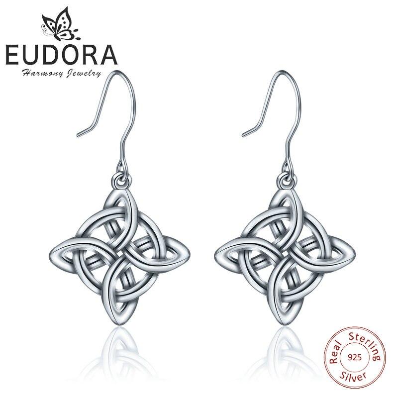 EUDORA Sterling Silver Good Luck Polished Dara Celtic Knot Drop Earring Dangler Women Fine 925 Jewelry girl birthday Gift