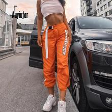 дешево!  Auyiufar Streetwear Брюки-карго для женщин с буквой Fashion Orange Лоскутная 2019 Осень Брюки женски