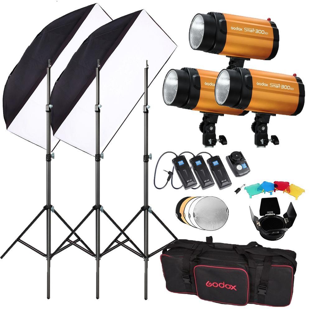 Godox 300SDI 900W (300Wx3) Studio Flash Lighting + flash trigger RT-16 + 50x70 Diffuser + flector Photography Strobe Light Kit