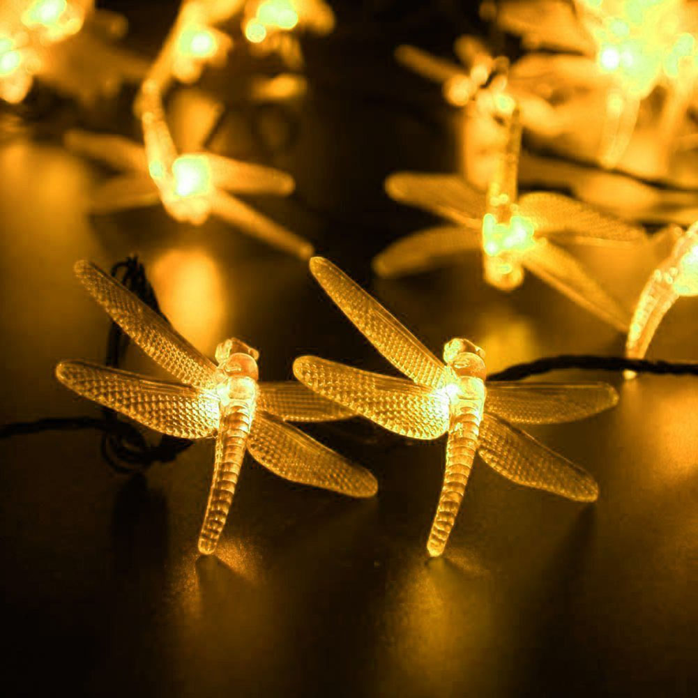 dragonfly solar powered string lights waterproof decorative lighting for landscape patio garden bedroom christmas party wedding - Decorative String Lights