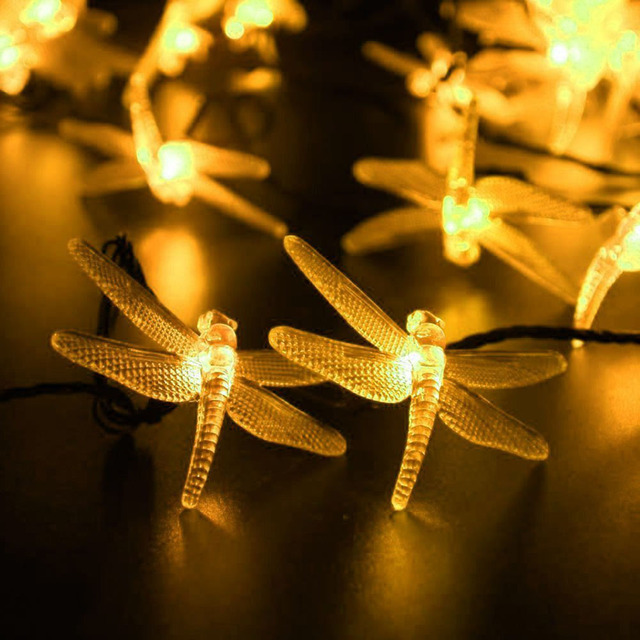 Dragonfly Solar Powered String Lights Waterproof Decorative Lighting For  Landscape Patio Garden Bedroom Christmas Party Wedding