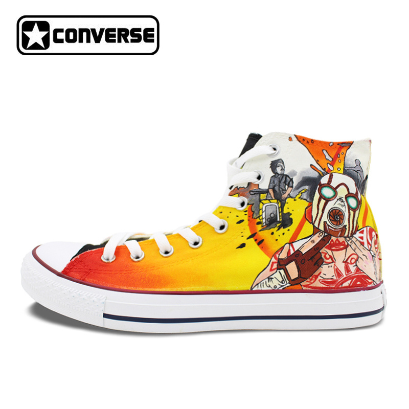 Red Yellow Converse Chuck Taylor Mens Womens Shoes Borderlands Design Hand Painted High Top Canvas Sneakers Christmas Gifts