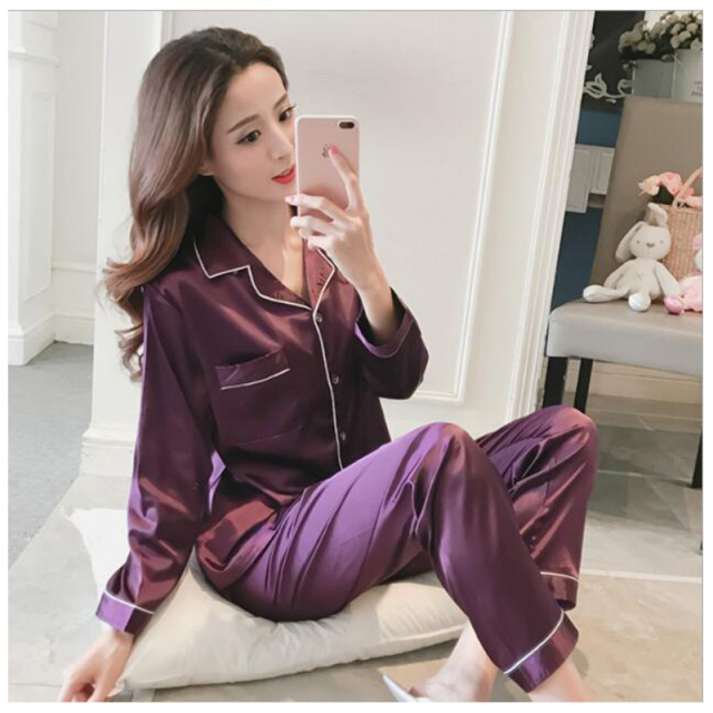 Women Silk Satin Pajamas Spring Autumn Long Sleeve Pajamas Suit Sleepwear Sexy Female Plus Size Solid Casual Loungewear