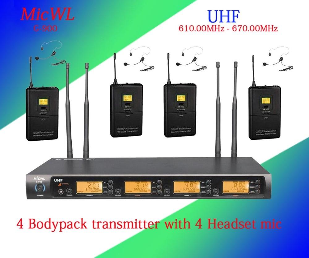 MICWL 4x100 Channel UHF Wireless Karaoke Microphone System  4 Bodypack transmitter with 4 Headset mic freeboss ku 22h2 uhf wireless microphone system dj karaoke 2 lapel 2 headset microphone 2 bodypack transmitter