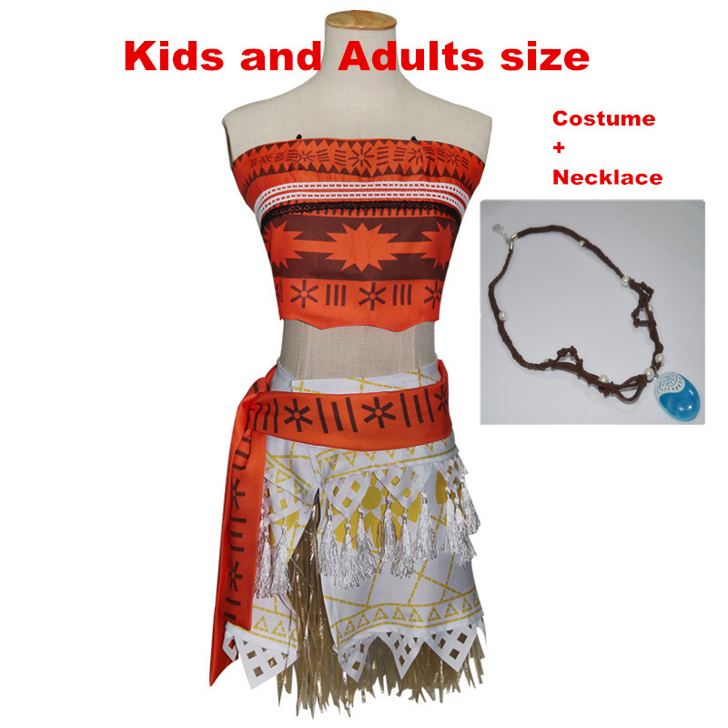 Kids and Adult  Princess Moana  Fancy Cosplay  Costume Dress Halloween Full set Necklace For Women and Children