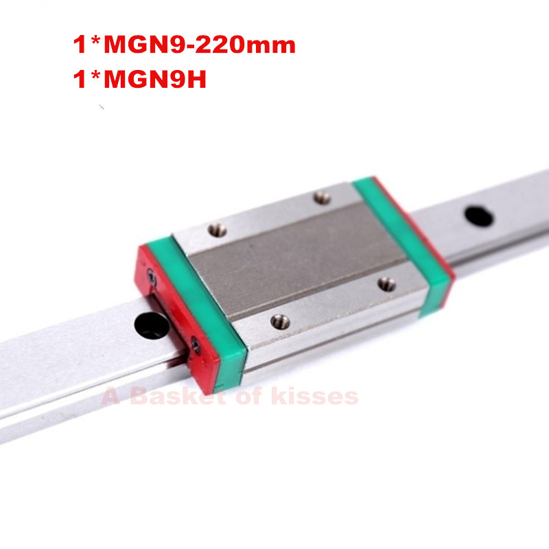 9mm linear guide MGN9 L220mm+ MGN9H or MGN9C carriage for Computer Numerical Control machina for CNC X Y Z Axis  linear guide numerical methods for linear control systems
