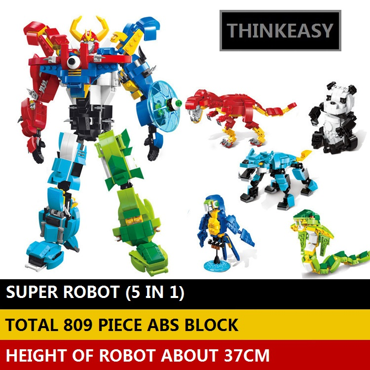 Ar komplektu 5 PCS / komplekts Transformācijas robots Dzīvnieku premjerministrs Bruticus Rotaļlietas Darbības figūras Bloķēt rotaļlietas bērniem Dzimšanas dienas dāvanas