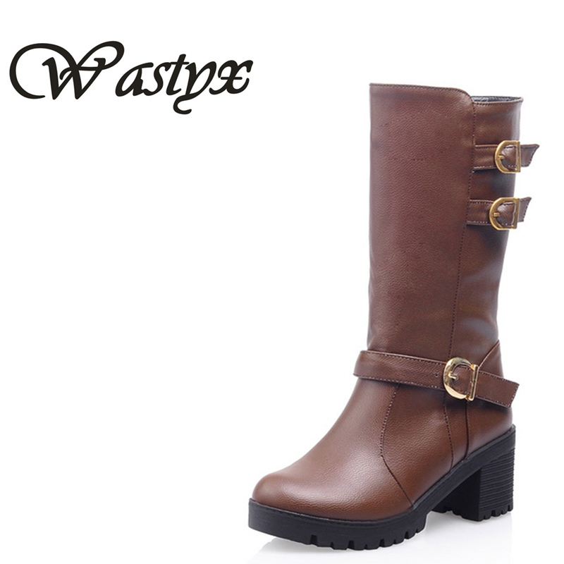 Wastyx new 2017 mid calf boots fahsion buckle women boots round toe winter ladies casual boots plus size 34-43 zippers double buckle platform mid calf boots
