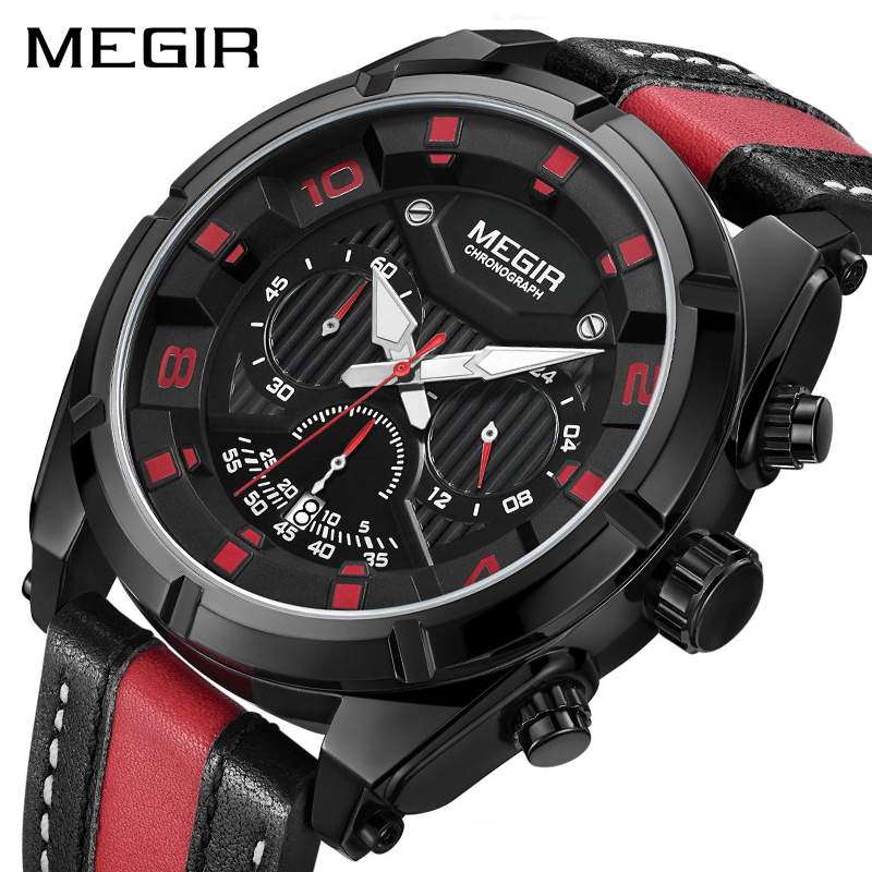 MEGIR Chronograph Sport Watch Men Quartz Wristwatches Clock Fashion Leather Army Military Watches Hour Time Relogio Masculino