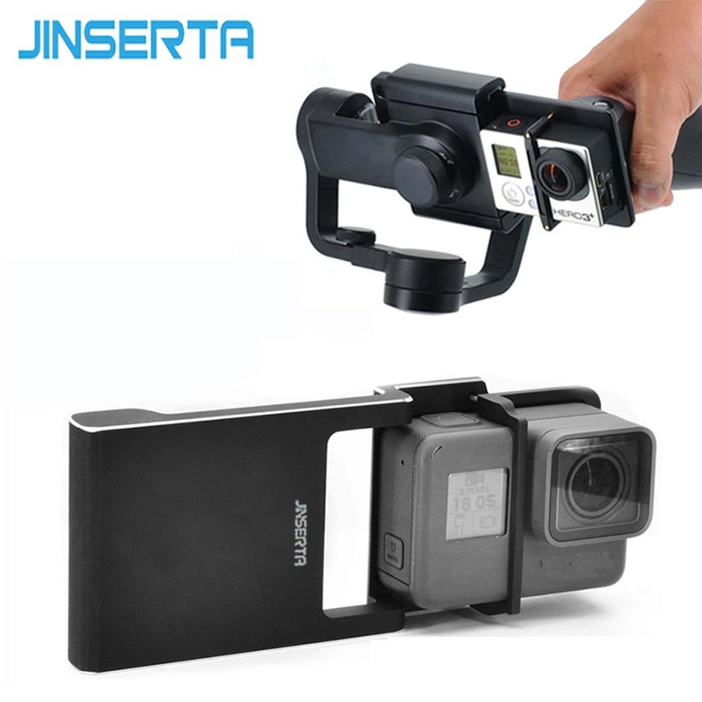JINSERTA Adaptateur pour GoPro Hero 6/5/4/3 + Xiaoyi 4 K + Commutateur Montage Plaque pour DJI osmo Mobile Zhiyun Lisse Q C 2 Smartphone Cardan