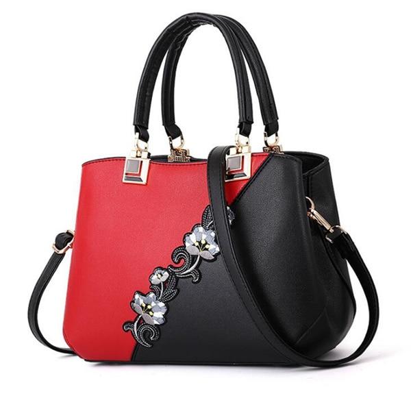 Модные женские Сумки из искусственной кожи, сумки с вышивкой, брендовая роскошная сумка на плечо, хит цвета, ручная сумка с верхней ручкой, сумка-почтальон с цветами - Цвет: Red