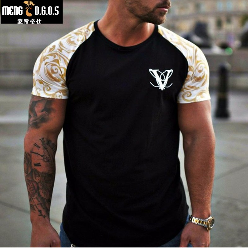 Mens Casual Fashion Printed Gyms T shirt Fitness Bodybuilding Short sleeve Cotton t shirts Slim Tee Tops Male Workout Clothing in T Shirts from Men 39 s Clothing