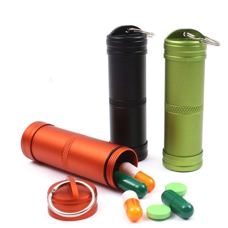 New Waterproof Aluminum Alloy Medicine Sealed Can Bottles With Keychain Outdoor Sports Camping Defense Security Survival Parts