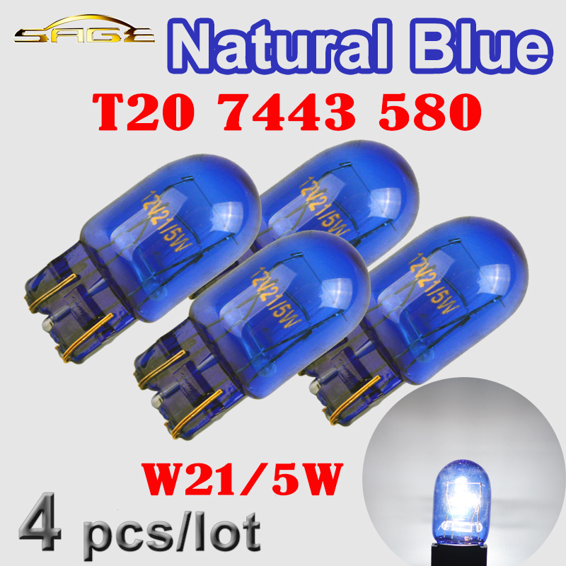 flytop (4 Pieces/Lot) 580 7443 W21/5W T20 Natural Blue Glass XENON Super White 12V 21/5W W3x16q Car Light Bulb Auto Lamp сайга 12 4 1 приклад по типу свд фанера ствол 580 мм купить