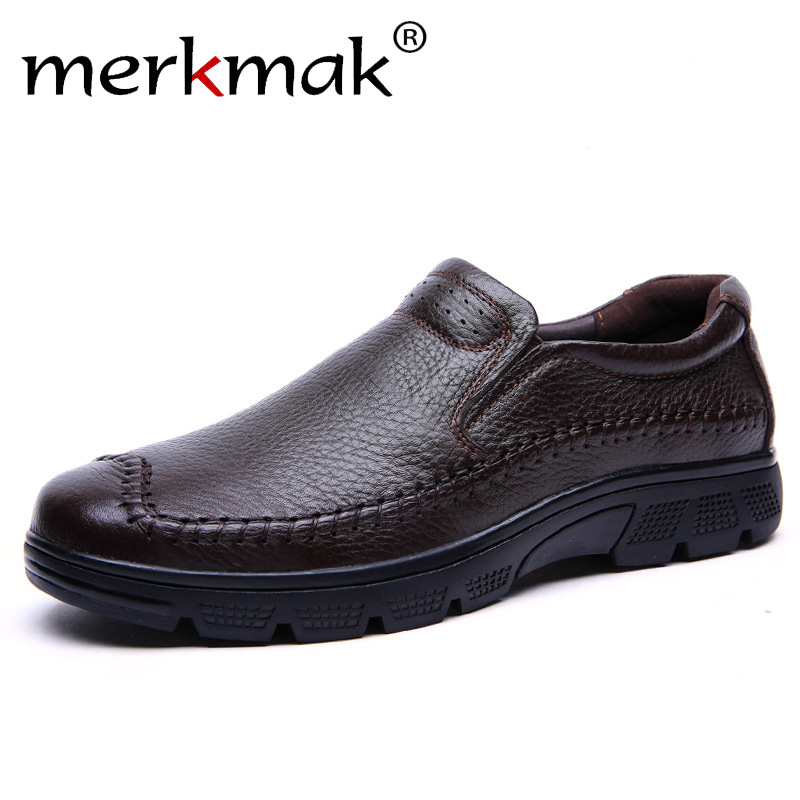 Merkmak New Brand Casual Men Genuine Leather Loafers Shoes Plus Size 37-50 Handmade Moccasins Shoes Men Flats Hot SaleMerkmak New Brand Casual Men Genuine Leather Loafers Shoes Plus Size 37-50 Handmade Moccasins Shoes Men Flats Hot Sale