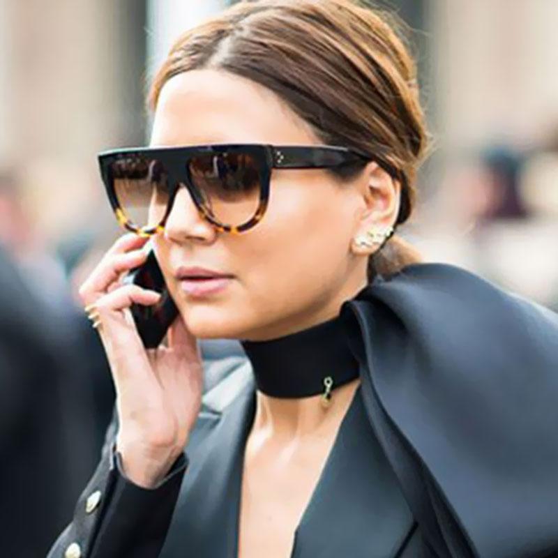 Brand Designer Women Sunglasses Sun Glasses Flat Top Shield Lady Female Superstar Oversize Shades Fashion Celebrity Shades