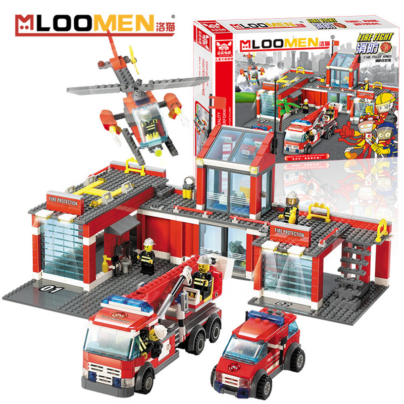 MLOOMEN 774pcs Fire Truck Model Building Blocks Sets Toy Small Particles DIY Educational DIY Toys Kids 6+ Gift Brinquedos Menino banbao 8313 290pcs fire fighting ladder truck building block sets educational diy bricks toys christmas kids gift
