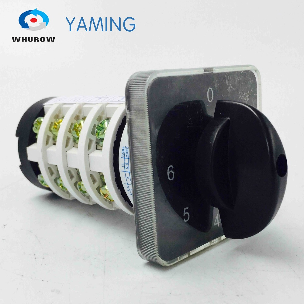 Rotary switch knob 6 position 0-6 YMZ12-20/4 universal manual electrical changeover cam switch 20A 690V 4 section high qualityRotary switch knob 6 position 0-6 YMZ12-20/4 universal manual electrical changeover cam switch 20A 690V 4 section high quality