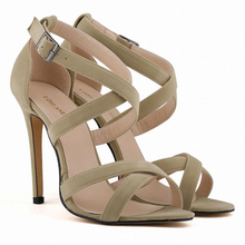 women sandals Large Size Slope High heel Hollow-out  Buckle Frosted Ribbon Fine Bag Womens Sandals