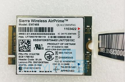 4G LTE WWAN CARD for Sierra Wireless Airprime EM7455 GOBI6000 FRU:01AX756 S1JN For Thinkpad P51 P71 T470 T570 X270 X1 +Antenna jinyushi for sl8082bt airprime 2g 100% new