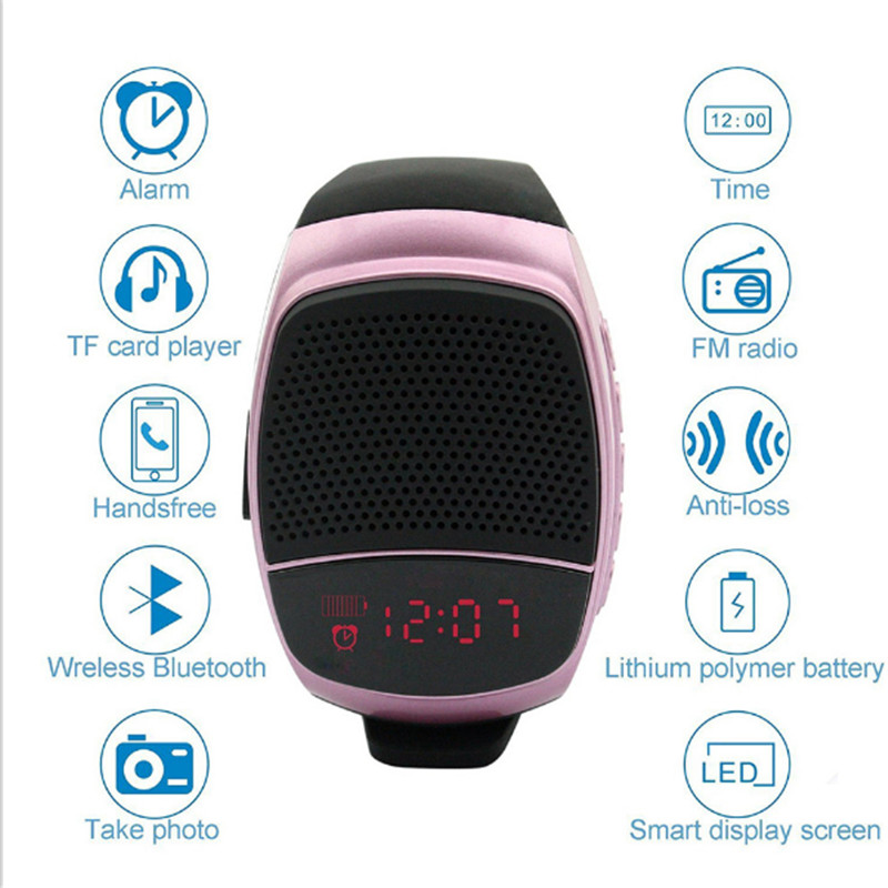 New Wireles Wristband Super Bass Bluetooth Speaker Smart Watch Sports Music Player Call Play FM Radio Self-timer Support TF Card