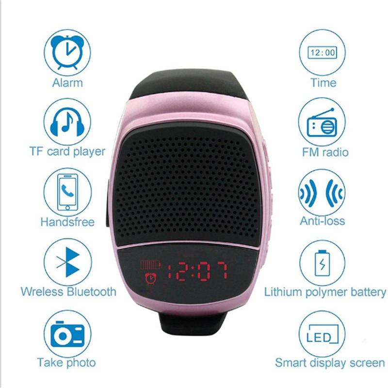 New Wireles Wristband Super Bass Bluetooth Speaker Smart Watch Sports Music Player Call Play FM Radio Self-timer Support TF Card
