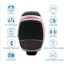 Nouveau bracelet Wireles Super Bass Bluetooth haut parleur montre intelligente sport lecteur de musique appel jouer FM Radio retardateur Support TF carte