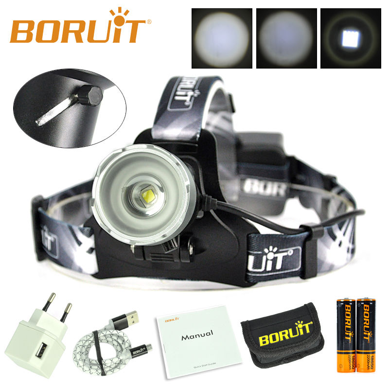 BORUiT B13 Cree XM-L2 LED Headlamp USB Waterproof Zoomable Camping Headlight Linterna Frontal LED Lamp with Battery and Charger b21 9000lm l2 cree led headlamp waterproof head light camping lamp boruit led lights by 18650 battery with usb cable