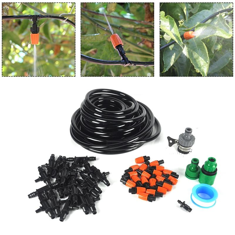 10m 9 / 12mm σωλήνα νερού Ρυθμιζόμενο ακροφύσιο DIY Σταγόνες πότισμα κήπου Αρδευτικό σύστημα κήπου Σύστημα ψεκασμού για φυτά θερμοκηπίου Λουλούδια
