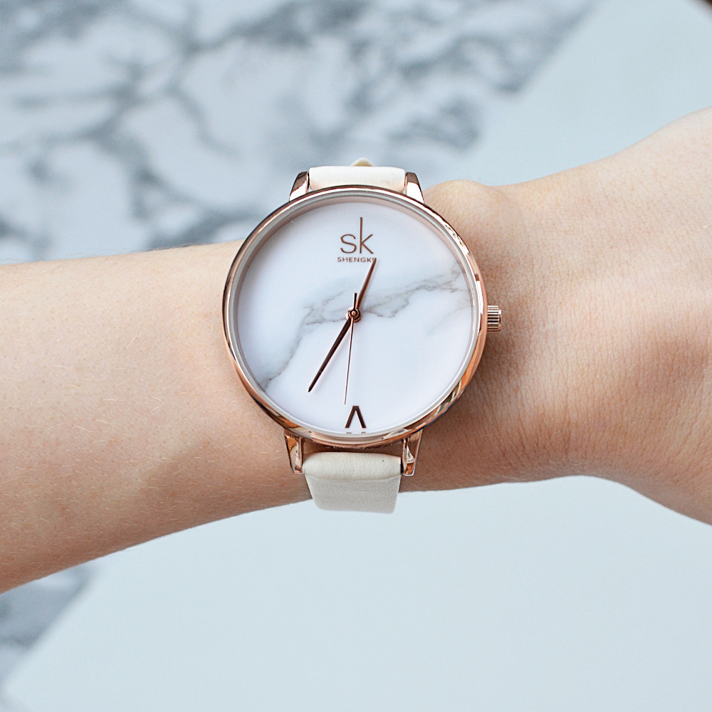 Shengke Top Brand Fashion Ladies Watches Elegant Female Quartz Watch Women Minimalism Leather Watch Montre Femme Marble Dial SK shengke top brand fashion ladies watches white leather marble dial female quartz watch women thin casual strap watch reloj muje