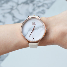Shengke Top Brand Fashion Ladies Watches Elegant Әйелдер Кварц Сағат Әйелдер Минимализм Қожа Монре Фемма Marble Dial SK