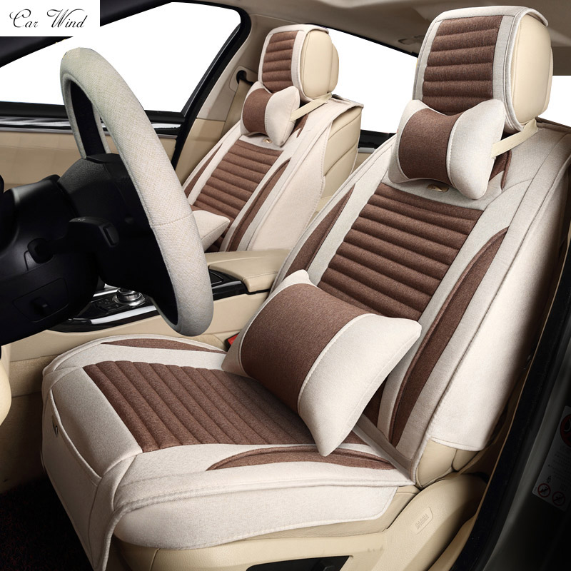 Car wind Universal Flax car seat covers Leather Seat Covers Front & Rear Complete Set for 5 Seat Car Four Season car Accessories