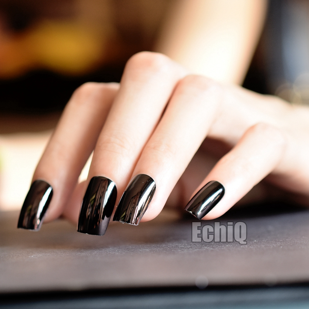 Shiny dark metallic artificial nail tips square press on nails not includes any glue you need to prepare glue by yourself solutioingenieria Images