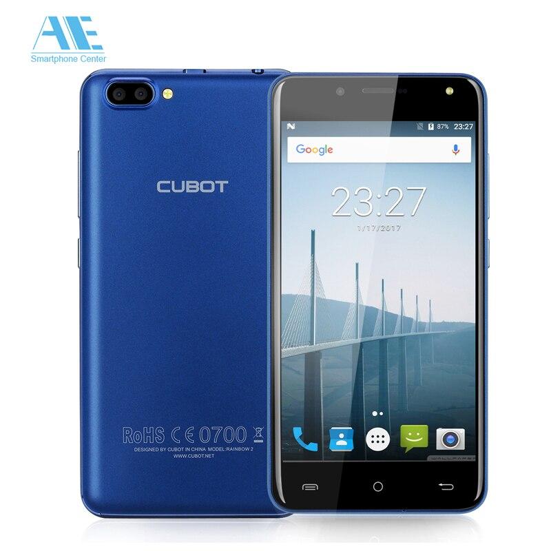 Цена за Оригинал cubot радуга 2 android 7.0 mt6580a четырехъядерный процессор 1 г ram 16 г ROM 5.0 Дюймов 1280x720 HD 13MP Двойная Камера Заднего Вида 3 Г Смартфоны
