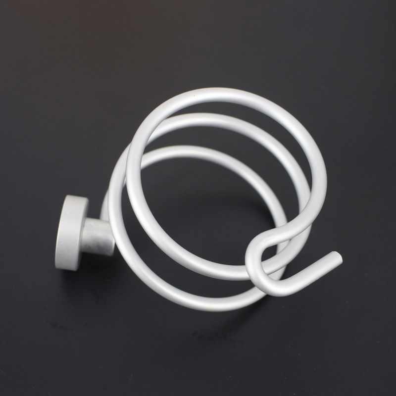 Suszarka do włosów uchwyt srebrzysty łazienka stelaż półki ubikacja akcesoria akcesoria łazienkowe