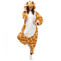 Adults Flannel Pyjama Suits Cosplay Costumes Garment Cute Cartoon Animal Onesies Pajamas Giraffe Halloween Free Shipping