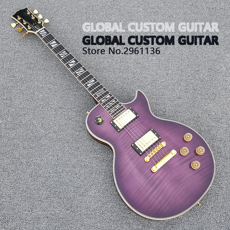 2017 New High Quality Custom LP Electric Guitar Hot Sale Noble purple Gold Hardware Free shipping  free delivery high quality custom store electric guitar silver hardware ebony lp guitar wholesale and retail real photos