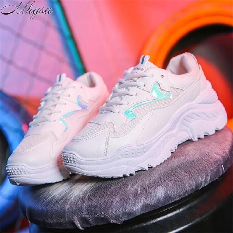 Mhysa/Новинка 2019 года; Осенняя женская обувь; Белая обувь; модная обувь на платформе; Повседневная дышащая обувь с сеткой; кроссовки; L203