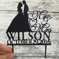 Custom Wedding Cake Topper Personalized Wedding Cake Decorations Mr Mrs Bride And Groom Cake Toppers Black
