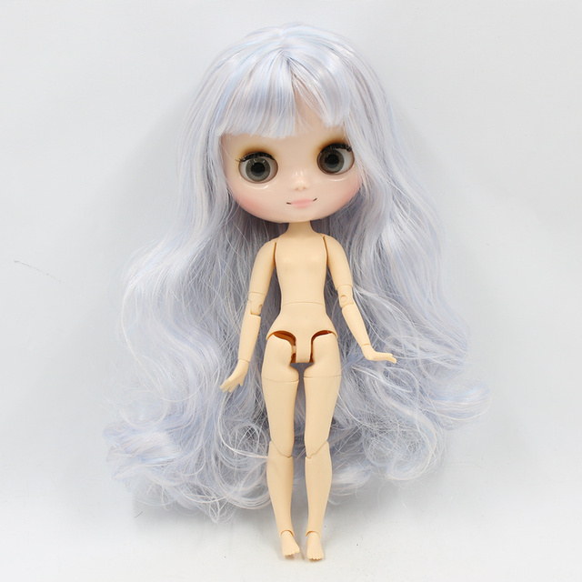 Middie blyth nude doll 20cm joint body glossy face with makeup gray eyes soft hair DIY toys gift with gestures
