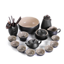 Black Pottery Kungfu Tea Set Teapot GaiWan Stoneware Japanese Home Office Tea Set Black Zen Wind Cover Bowl Teapot Teacup