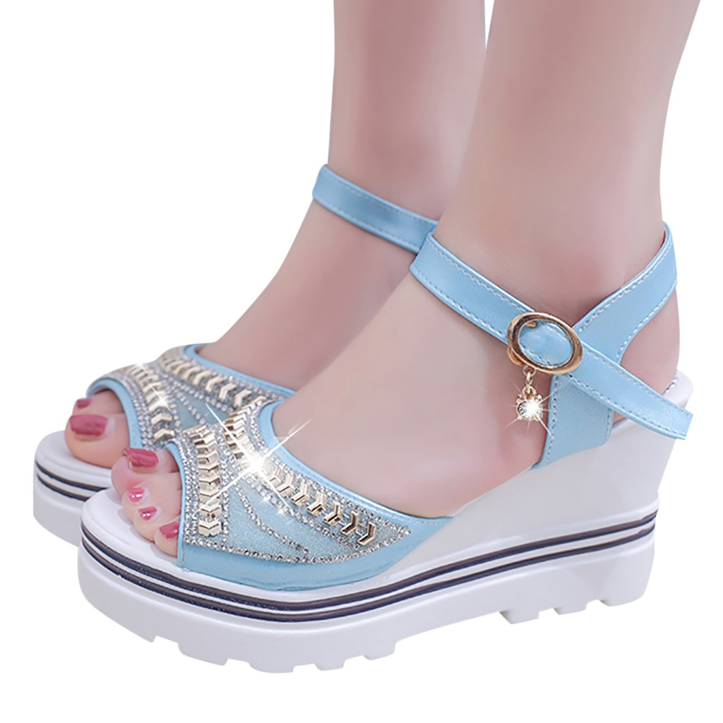 HTB1cGW6Uq6qK1RjSZFmq6x0PFXaB - SAGACE Women Thick Bottom Sandals Wedges Sandals Shoes For Women Fashion Women Summer Wedge Heel Open Toe Buckle Strap Sandals