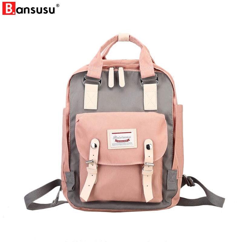 Harajuku Waterproof Canvas Women Backpacks Korean Fresh School Bag For Teenager Girl Preppy Style Travel Daily Back Pack Bags fabra fashion waterproof nylon backpacks women patchwork preppy soft back pack unisex korean japan style school bags wholesale